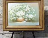 Vintage bouquet of daisies still life original signed oil painting, Ellen, cottage chic