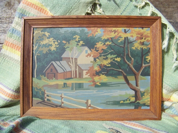 Vintage paint by number, country landscape, oak trees, rail fence, farm, trees, lake