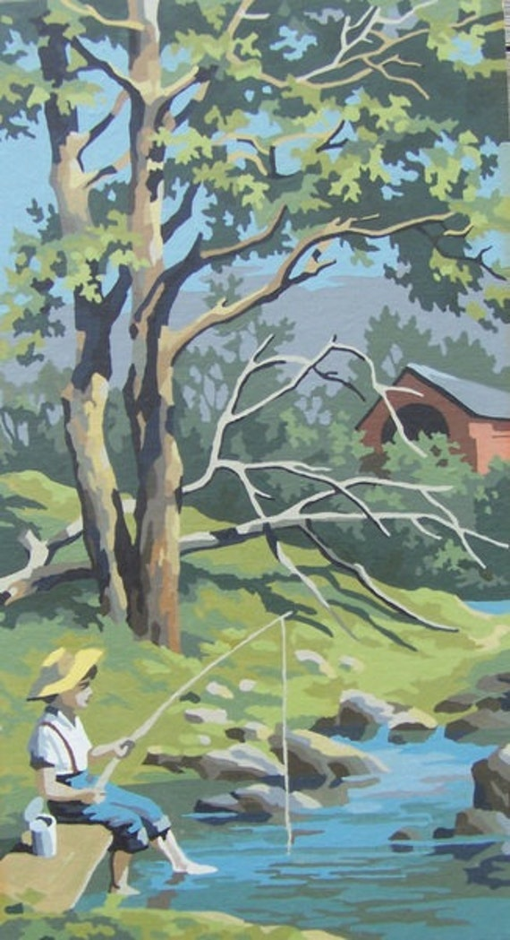 Vintage paint by number, boy fishing, river, trees, covered bridge, Tom Sawyer, childrens decor