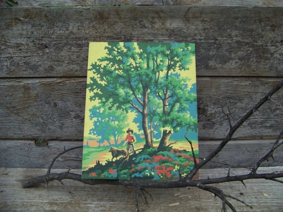 Paint by number, boy and collie, dog, Timmy and Lassie, oak trees, flowers