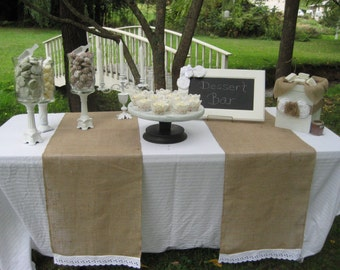 Burlap and Lace Runner, Rustic Wedding, Burlap Wedding, Eyelet Lace Burlap Runner, Rustic Burlap, Wedding Table, Wedding Decor, Burlap Decor