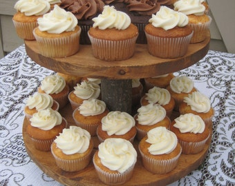 Rustic Wedding, Rustic Cupcake Stand, Rustic Cake Stand, Log Cupcake Stand, Tree Cupcake Stand, Wood Cupcake Stand, Your Divine Affair