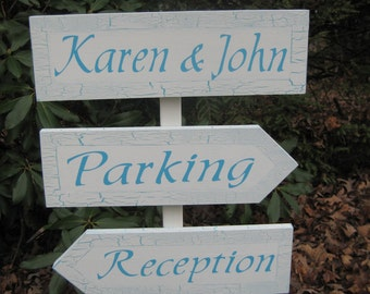 Directional Wedding Sign, Shabby Chic Wedding, Turquoise Blue Wedding, Personalized Wedding Signs, Direction Sign, Reception Sign