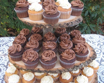 Rustic Wedding Cupcake Stand Log Slices 3 Tier