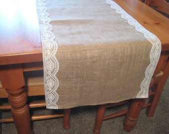 Burlap and Lace Runner, Rustic Wedding, Rustic Wedding Decor, Burlap Runner, Burlap Table Runner, Burlap Wedding, Table Runner