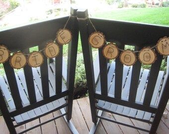 Chair Signs, Wedding Chair Signs, Bride and Groom, Wood Slice Banners, Rustic Wedding, Rustic Bride and Groom, Rustic Signs