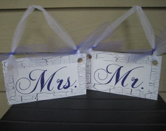 Mr and Mrs Signs, Chair Signs, Wood Chair Signs, Purple Wedding, Purple Signs, Shabby Chic Wedding, Bride and Groom Signs