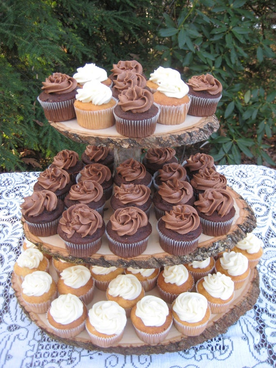 Rustic Wedding Cupcake Stand Log Slices 3 Tier