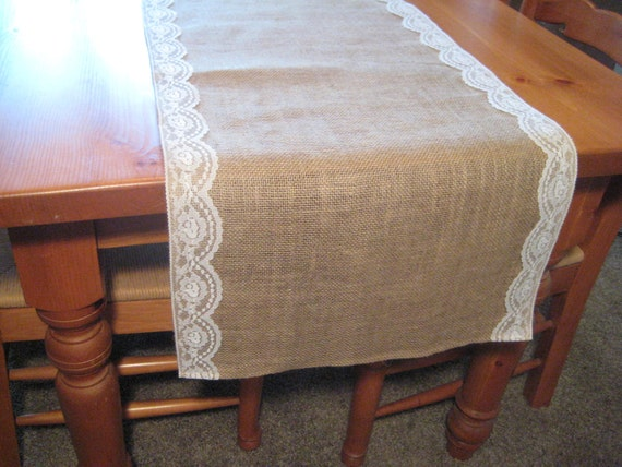 "Burlap and Lace Runner, Table Runner, Rustic Burlap Runner, Rustic Wedding, Burlap Wedding, Burlap Overlay, Rustic Wedding Decor, 72"" x 18"""