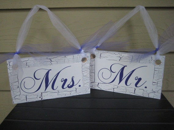 Bride and Groom Signs, Wedding Chair Signs, Chair Signs, Wedding Signs, Mr and Mrs Signs, Purple Wedding Signs, Your Divine Affair