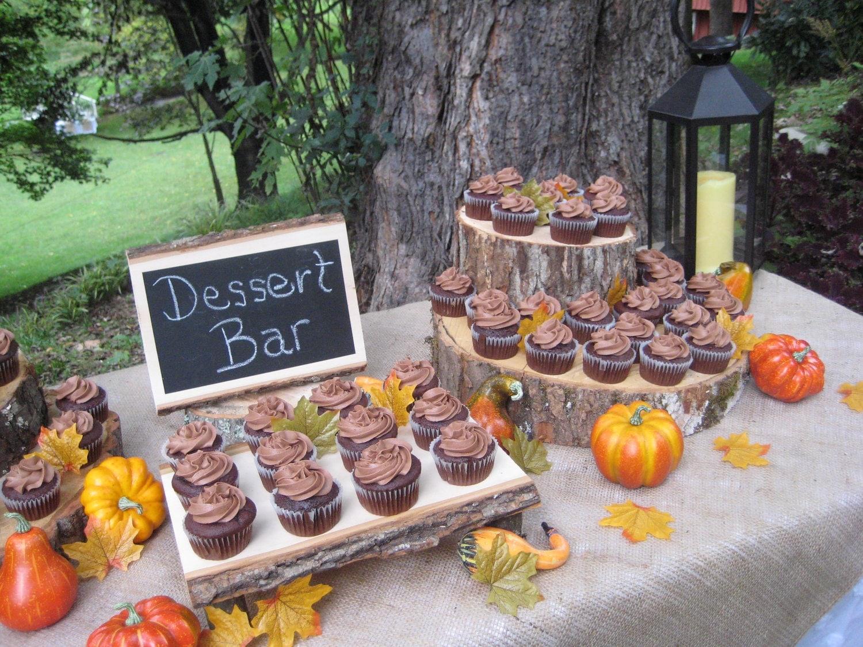 Rustic Wedding Cupcake Cake Stand Log Slice by