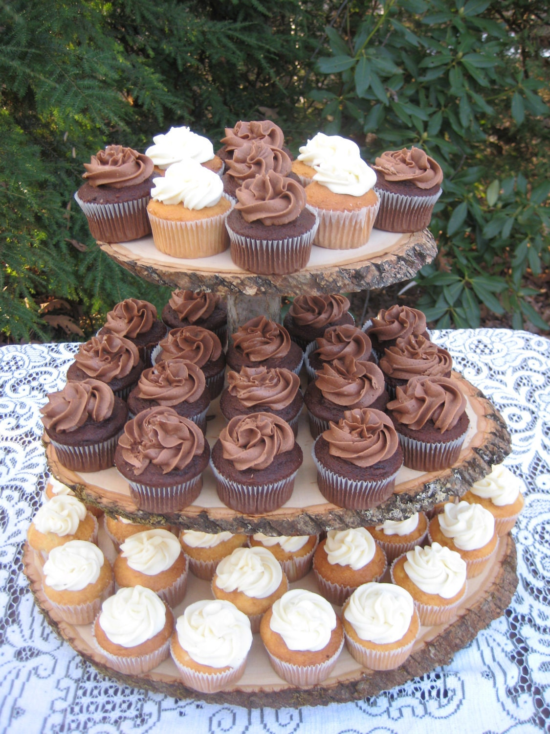 rustic wedding cake cupcake stand rustic wedding cupcake stand log slices 3 tier 19525