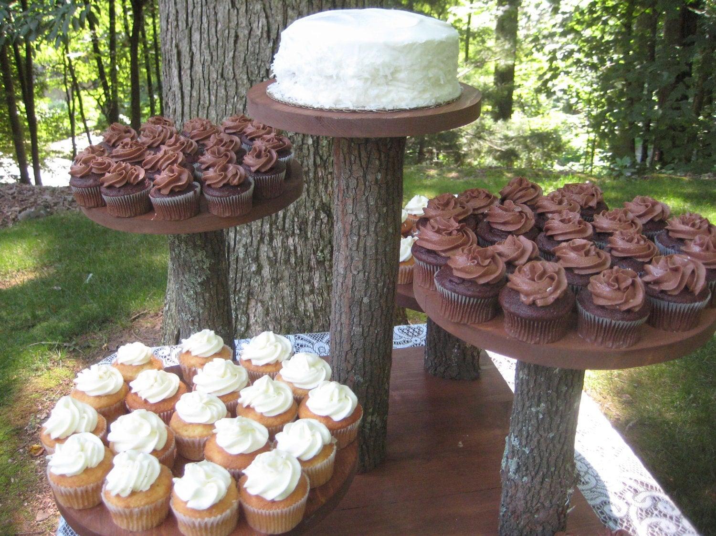Rustic Cupcake Stand Rustic Cake Stand Rustic Wedding Log