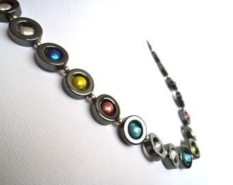 Rainbow Circles Pearl Necklace