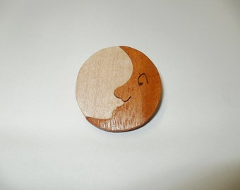 moon brooch wood dark moon scroll saw