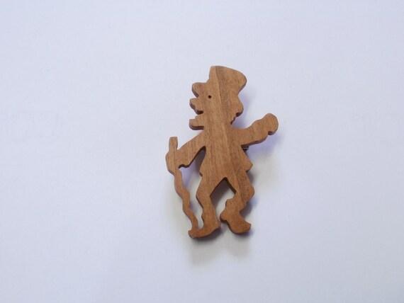 leprechaun brooch  wood  scroll saw