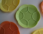 Kitschy Retro plastic fun spring colors of yellow green and orange cup coasters
