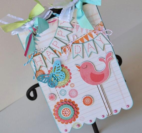 Girl Mini Album Scallop Scrapbook Chipboard Daughter Pink Teal Green OOAK