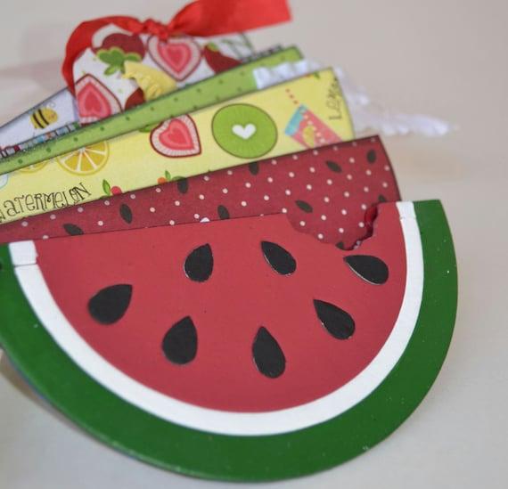 Summertime Mini Album Watermelon & Fruit Scrapbook Red Yellow Green OOAK