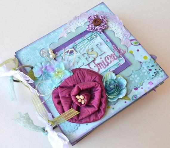 Best Friends Mini Album Scrapbook Chipboard 6x6 Purple Teal OOAK