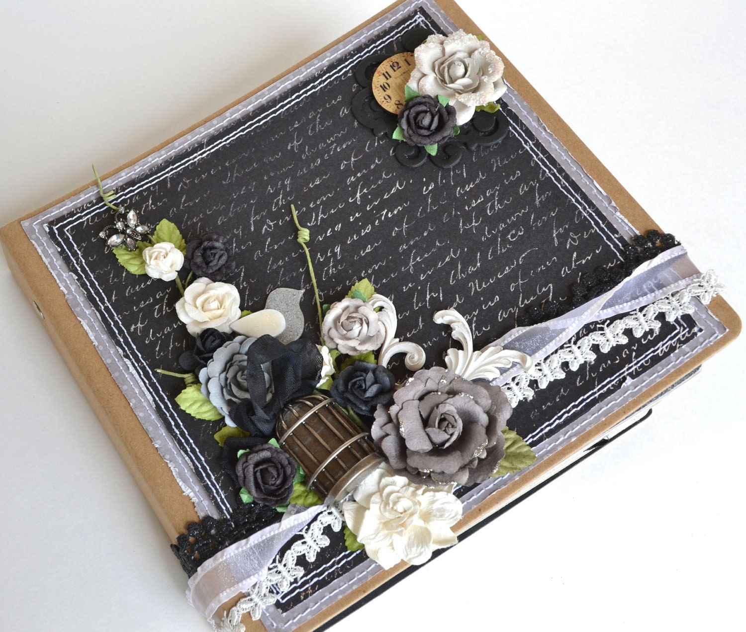Coffee Book Album: Wedding Album Scrapbook 8x8 Black White Cream Mini Memory
