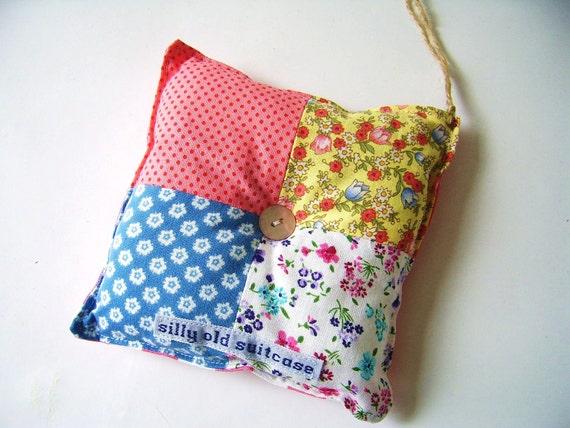 Handmade patchwork pincushion-lavendersachet-wallhanging-decoration