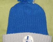 vintage 1960's/1970's Detroit Lions NFL knit winter pom hat cap w/ facemask