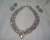 Vintage Stunning Rhinestone Necklace and Earring Set,