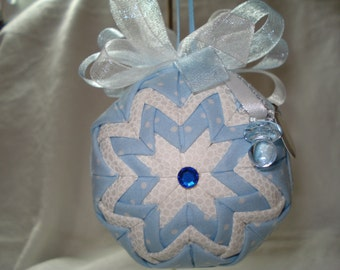 Handmade Quilted Ornament, Baby Boy, with blue Binky, It's A Boy charms