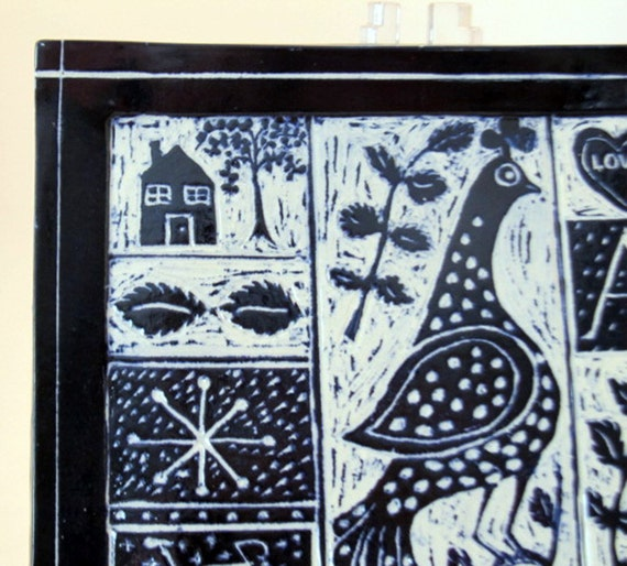 Handmade Stoneware Pottery Dark Blue & White Square Plate Sgriffito Carved Bird Botanicals