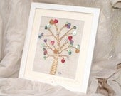 Hand Sewn 'Tree Of Love' Fabric Picture with buttons. Perfect for Weddings, Anniversary (2nd), Engagement or Valentines. In mount & frame.
