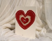 Multi Fabric Heart Card. Perfect for 2nd Wedding Anniversaries, Weddings, Engagement, Birthdays and Valentines.