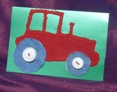 Hand Made Fabric Red Tractor. Suitable for  Birthday.  Son, Nephew, Adult, Child. A6 size.
