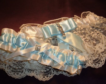 SALE! Wedding Garter Set in Beautiful Lace with Blue Satin, and Rhinestone Accents