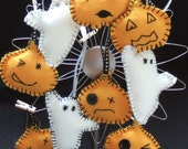 Felt Halloween Decorations Pumpkins and Ghosts - Trick or Treat