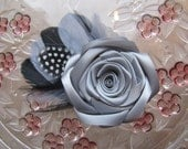 Silver Fascinator, Silver Feather Fascinator, Grey Hair Flower, Grey Rose with Feathers Hair Clip, Bridesmaid Flower, Wedding Fascinator