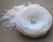 Bridal Fascinator, Bridal Hair Flower, Wedding Fascinator, White or Ivory Organza Flower with Tulle and Rhinestone or Pearl Centre Hair Clip