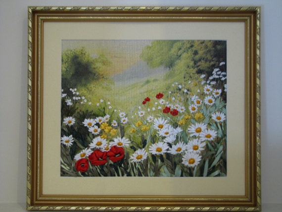Items similar to ribbon embroidery wall art field
