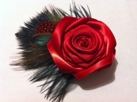Bridal Fascinator Red and Black, Red Hair Flower, Red Rose Hair Clip, Bridesmaid Flower, Flower Hair Piece, Wedding Flower, Bridal Flower