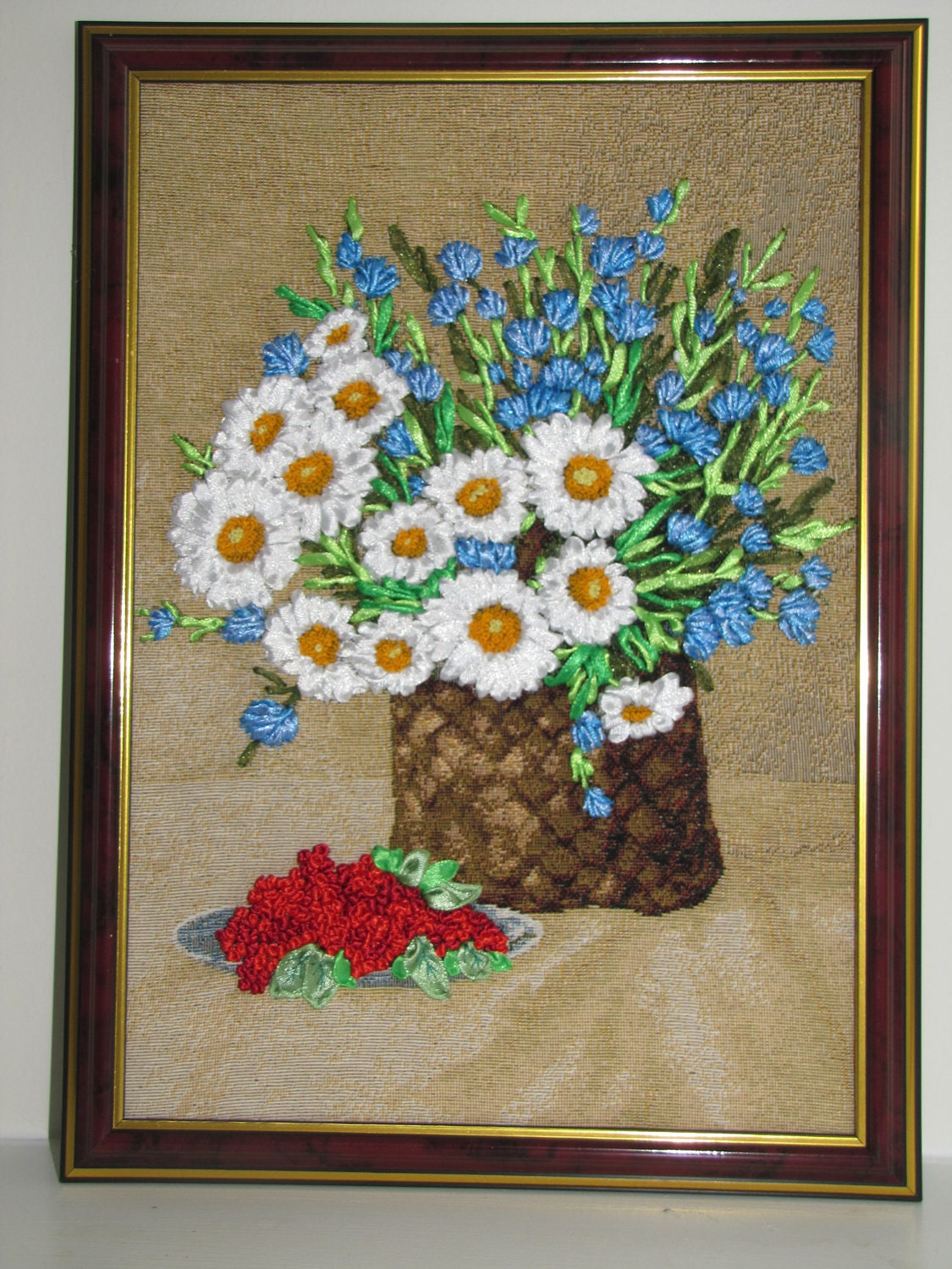 Ribbon embroidery wall art daisies in basket by