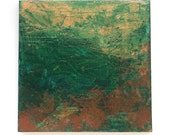 Green Gold Copper Abstract Acrylic Painting Original Art - As We Plan Our Escape  10 x 10