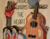 Country Music Warms the Heart Cross Stitch Cowboy Hat, Guitar, Cowboy Boots