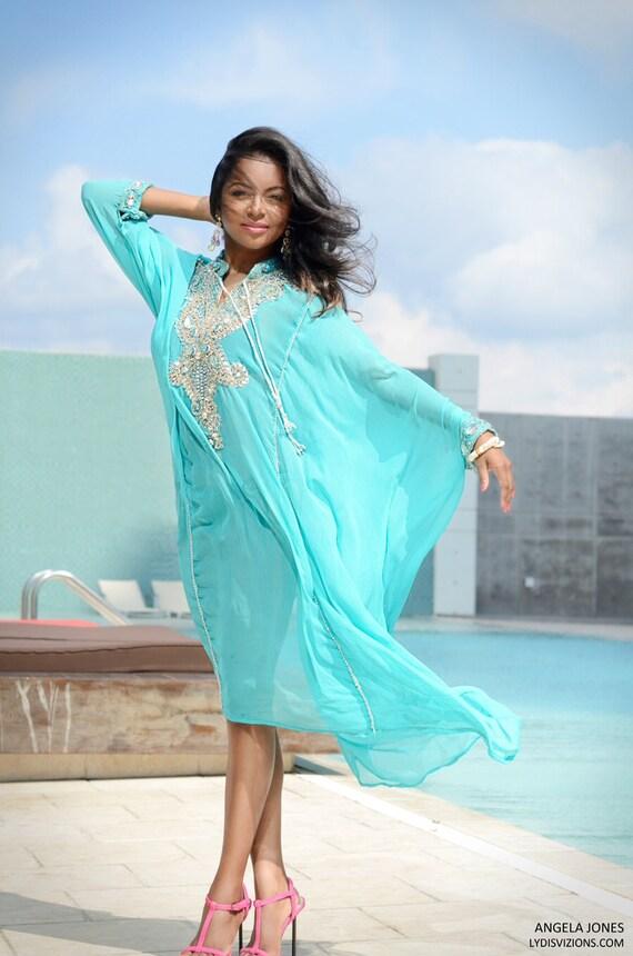 Aqua with Embellished Design Hand Made Kaftan-One Size