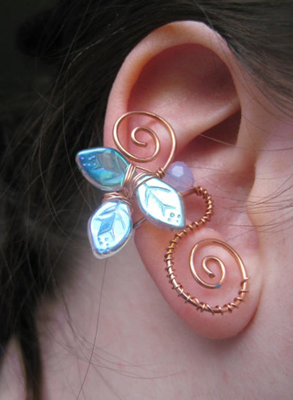 Copper Wire Ear Cuff with Leaves, Faerie Jewelry, Wire Wrapped Ear Cuffs, Elven Ear Cuff