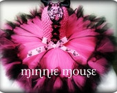 Hot Pink Minnie Mouse Tutu Dress, Petti Tutu Dress,  Hot Pink & Black Tutu, Minnie Mouse Party, Kids Birthday Tutus, Pageant Dress