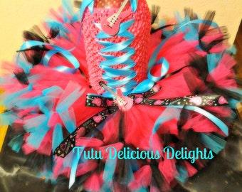 Rock Star Hot Pink Turquoise Black Petti Tutu Dress~ Rock Star Party~ Kids Birthday Tutu~ Pageant Dress~ Photo Prop