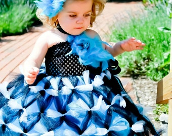 Turquoise and Black Flower Girl Tutu Dress ~ Couture Tutu Dress~ Pageant Dress~ Kids Birthday Tutu~ Photo Prop~ Knotted Tutu Dress