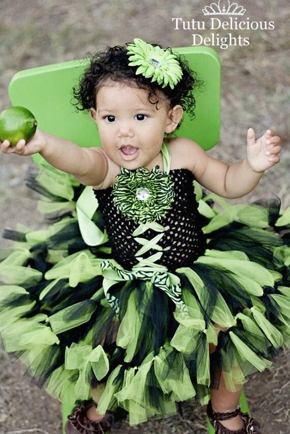 Lime and Black Halter Petti Tutu Dress, Lime Green Tutu, Zebra Tutu Dress, Kids Birthday Tutus, Pageant Dress, Kids Photo Props