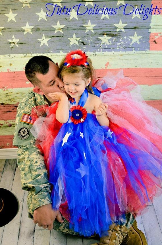 4TH Of July  Tutu Dress, Patriotic Dress~ Kids Photo Props ~ Pageant Dress~ USA Dress~ American Girl Dress