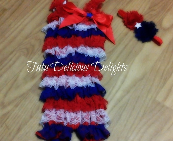 4th Of July Patriotic Lace Petti Romper With Headband